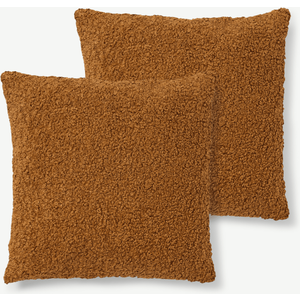 Made.com Mirny Set Of 2 Boucle Cushions, 55 X 55cm, Terracotta Brown, Brown