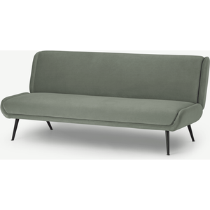Made.com Moby Click Clack Sofa Bed, Pale Sage Velvet Green, Green