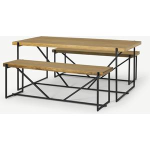Morland Dining Table & Bench Set, Light Mango Wood Tables, Light wood