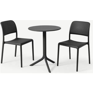 Made.com Nardi 2 Seat Bistro Set, Dark Grey Fibreglass & Resin, Grey