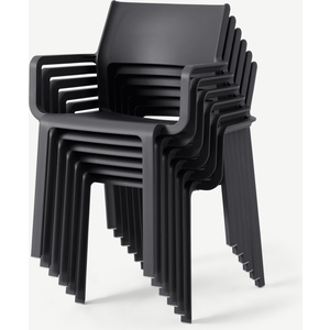 Made.com Nardi Set Of 6 Chairs, Dark Grey Fibreglass & Resin, Grey