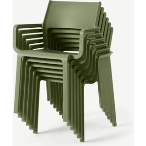 Nardi Set Of 6 Chairs, Olive Fibreglass & Resin Garden & Leisure, Green