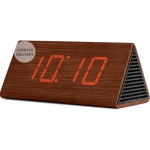 Made.com Odette Triangle Digital Alarm Clock And Bluetooth Speaker, Walnut Brown , Brown