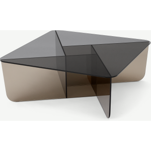 Made.com Oki Square Coffee Table, Smoked Grey & Amber Glass Clear