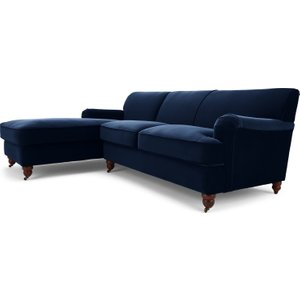 Made.com Orson Left Hand Facing Chaise End Corner Sofa, Ink Blue Velvet , Blue