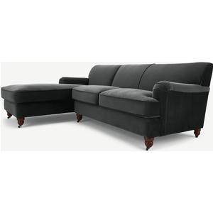Made.com Orson Left Hand Facing Chaise End Corner Sofa, Midnight Grey Velvet, Grey