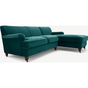 Made.com Orson Right Hand Facing Chaise End Corner Sofa, Seafoam Blue Velvet, Blue