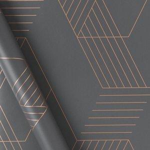 Made.com Pascal Geo Wallpaper, 10m Roll, Iron Grey & Copper Copper,grey, Copper,Grey