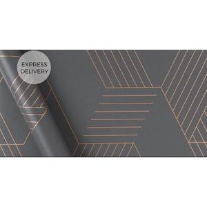 Made.com Pascal Geo Wallpaper, 10m Roll, Iron Grey & Copper Copper,grey , Copper,Grey