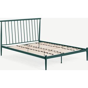 Made.com Penn Super King Size Metal Bed, Peacock Green Metal, Green