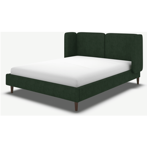 Made.com Ricola Double Bed, Bottle Green Velvet With Walnut Stain Oak Legs, Green