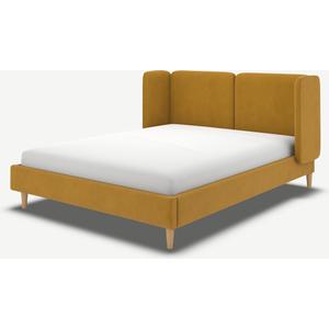 Made.com Ricola Double Bed, Dijon Yellow Cotton Velvet With Oak Legs, Yellow