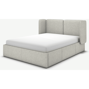 Made.com Ricola King Size Bed With Storage Drawers, Ghost Grey Cotton, Grey