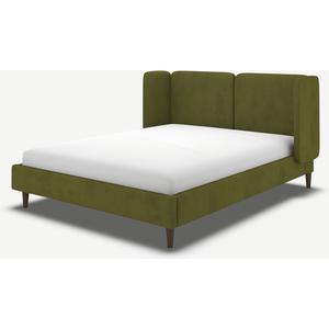 Made.com Ricola Super King Size Bed, Nocellara Green Velvet With Walnut Stain Oak Legs, Green