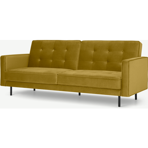 Made.com Rosslyn Click Clack Sofa Bed, Vintage Gold Velvet, Gold