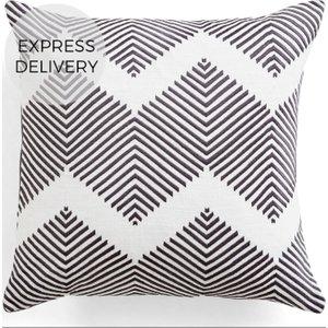 Made.com Ryker Embroidered Cushion 45 X 45 Cm, Grey , Grey