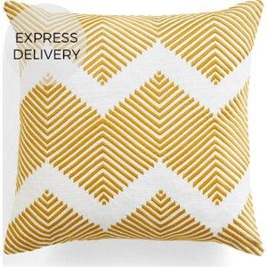 Made.com Ryker Embroidered Cushion 45 X 45 Cm, Ochre Yellow , Yellow