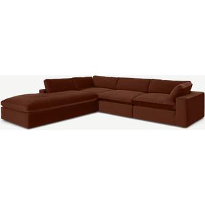 Made.com Samona Left Hand Facing Full Corner Sofa, Amber Velvet Orange, Orange