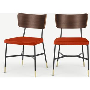 Made.com Set Of 2 Amalyn Dining Chairs, Walnut And Flame Orange Velvet, Orange