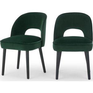 Made.com Set Of 2 Rory Dining Chairs, Pine Green Velvet Black Wood,grey, Black wood,Grey