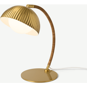 Made.com Shell Table Lamp, Antique Brass & Natural Rattan Brass,natural, Brass,Natural