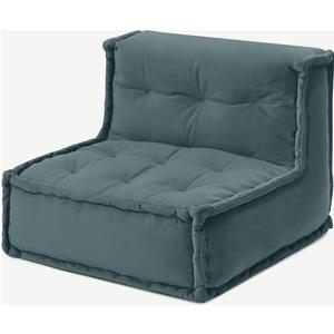Made.com Sully Modular Floor Cushion, Marine Green Velvet, Green