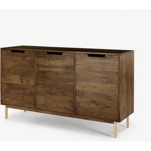 Made.com Tayma 3 Door Sideboard, Acacia Wood & Brass Brass,dark Wood