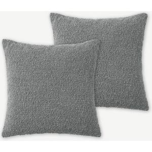Made.com Teddy Set Of 2 Boucle Cushions, 50 X 50cm, Steel Grey , Grey