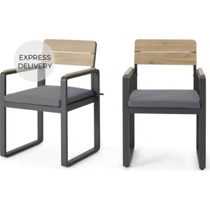 Made.com Topa Garden Set Of 2 Dining Chairs, Acacia Wood And Grey Grey,light Wood , Grey,Light wood
