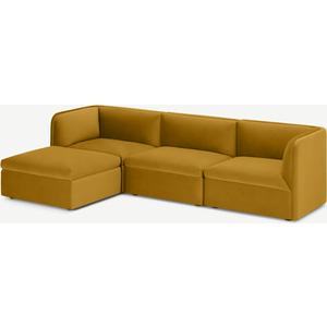 Made.com Torkel Chaise End Corner Sofa, Vintage Ochre Velvet Gold, Gold