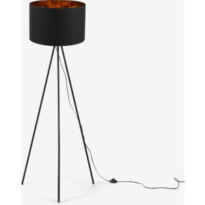 Tris Tripod Floor Lamp, Matt Black And Copper Lighting, Black