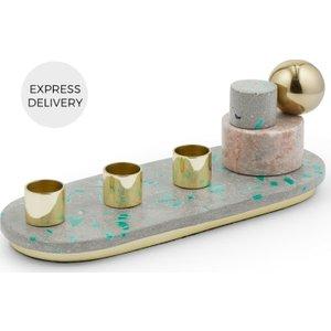 Made.com Tyla Marble & Brass Candleholder, Multi Brass,grey,pink , Brass,Grey,Pink