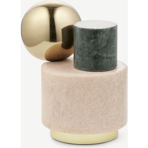 Made.com Tyla Marble & Brass Doorstop Objet, Multi Brass,grey,pink , Brass,Grey,Pink