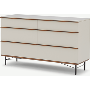 Made.com Vincent Wide Chest Of Drawers, Warm Ecru & Walnut Stain White, White