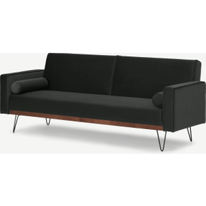 Made.com Warner Click Clack Sofa Bed, Dark Anthracite Velvet Grey, Grey