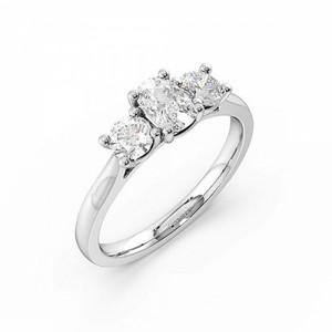 4 Prong Setting Cushion Trilogy Diamond Rings In Platinum
