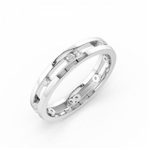 Channel Setting Round Shape Stylish Diamond Wedding Ring (3.80mm)