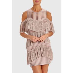 Forever Unique Mindy Cold Shoulder Ruffle Mini Dress - Pink - 8