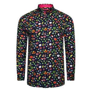 J.l. Berlue Fruit Premium Fruit Print Long Sleeve Shirt - Navy - M