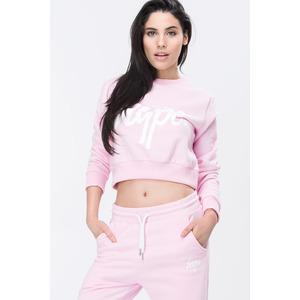 Hype Script Crop Crew Sweatshirt - Pink/white - 12
