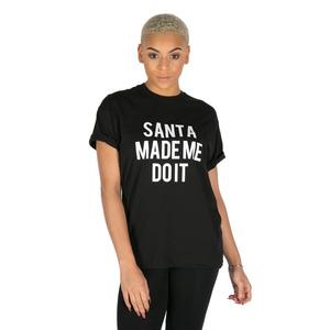 Love Santa Made Me Do It Slogan T-shirt - Black - M