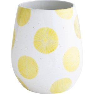 Habitat Adelaide White And Yellow Spot Ceramic Vase, White And Yellow, White And Yellow