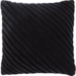 Habitat Adelie Black Ribbed Velvet Cushion 50 X 50cm, Black, Black