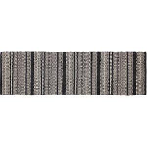 Habitat Agnes Black Stripe Cotton Flatweave Runner 65 X 200cm, Black, Black