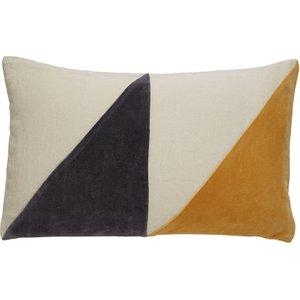Habitat Alicia Charcoal Grey And Mustard Yellow Velvet And Linen Cushion 30 X 50cm, Grey, Grey