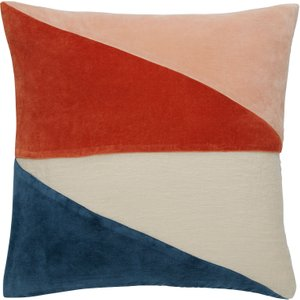 Habitat Alicia Multi-coloured Velvet And Linen Cushion 45 X 45cm, Pink And Blue, Pink And Blue