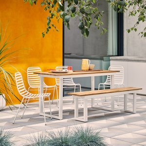 Habitat Augusta Acacia And White Metal 6 Seater Rectangular Garden Table, Bench And 4 Chairs, Acac, Acacia And White