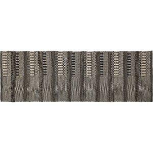 Habitat Aztec Black And Natural Flatweave Wool Runner 75 X 200cm, Neutral And Black, Neutral And Black