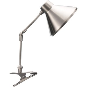 Habitat Bobby Silver  Brushed Metal Clamp Desk Lamp, Silver, Silver