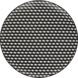 Habitat Brookland Black And White Pattern Dinner Plate D27cm, Black And White, Black And White